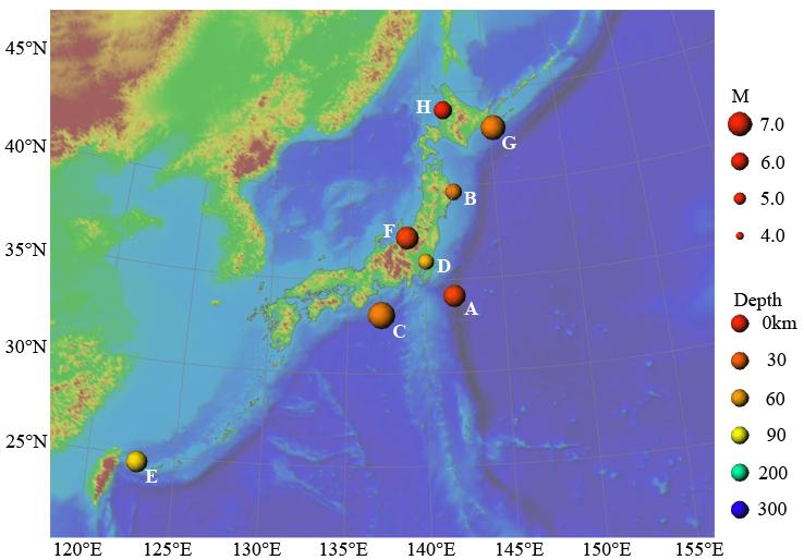 2004年の主な地震活動の図