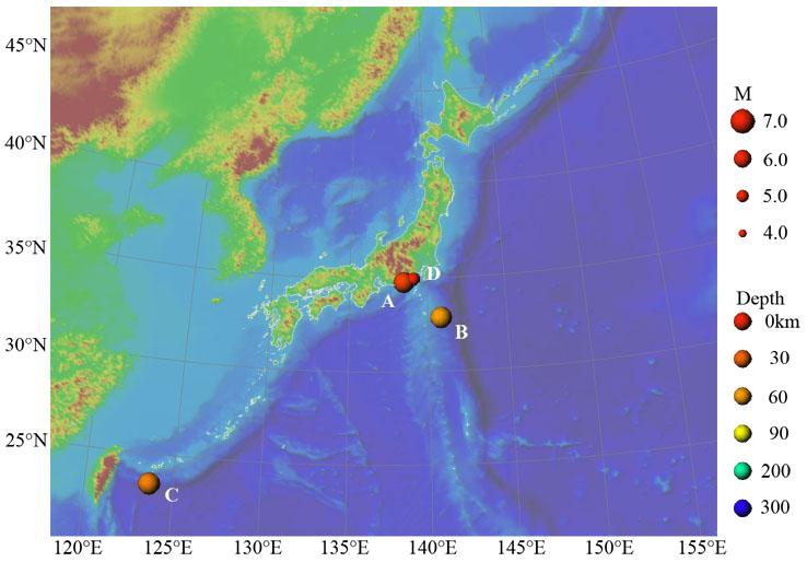 2009年の主な地震活動の図